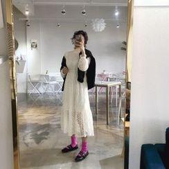 DISCOSALON - Mock-Neck Laced Long Dress
