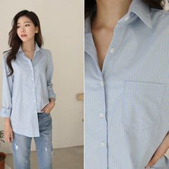 Hello sweety - Pocket-Front Stripe Shirt