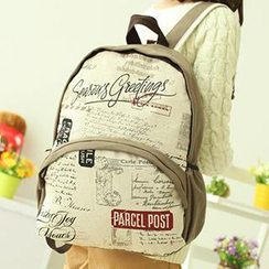 Canvas Love - Lettering Printed Canvas Backpack