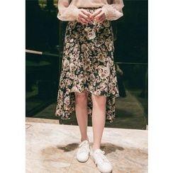 Chlo.D.Manon - Dip-Back Flower Pattern Midi Skirt