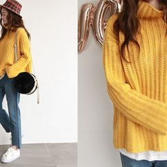 NIPONJJUYA - Mock-Neck Rib-Knit Sweater