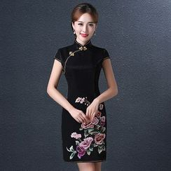 Royal Style - Embroidered Short Cheongsam