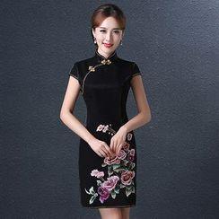 皇家尚品 - 刺绣短款旗袍