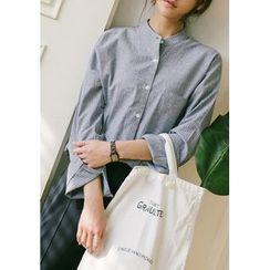 GOROKE - Mandarin-Collar Dip-Back Pinstripe Shirt