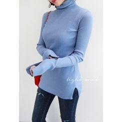 Miamasvin - Turtle-Neck Slim-Fit Rib-Knit Top
