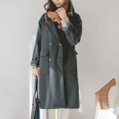 JUSTONE - Notched-Lapel Double-Breasted Wool Blend Coat