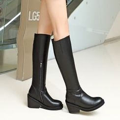 JY Shoes - Faux Leather Chunky Heel Tall Boots