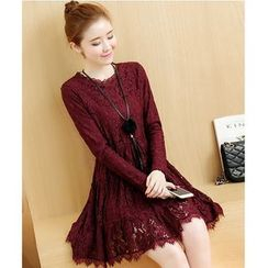 Yinaike - Long-Sleeve A-Line Lace Dress