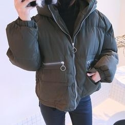 DABAGIRL - Hooded Zip-Up Thick Puffer Jacket