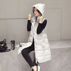 Aigan - Hooded Padded Long Vest
