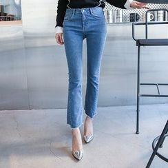 DABAGIRL - Cutout-Hem Washed Semi Boot-Cut Jeans