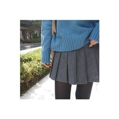 CHERRYKOKO - Wool Blend Mini Pleat Skirt