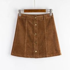 Aigan - Buttoned Corduroy A-Line Skirt