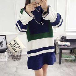 Hanaya - Color-Block Loose-Fit Long-Sleeve Knit Dress