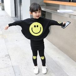 Merry Go Round - Kids Set: Sequin Smiley Long-Sleeve T-Shirt + Shorts Inset Leggings