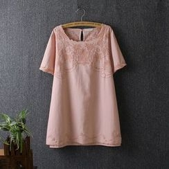 Blue Rose - Embroidered Short-Sleeve Top