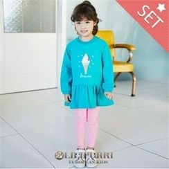 LILIPURRI - Girls Set: Illustration Pullover Dress + Leggings