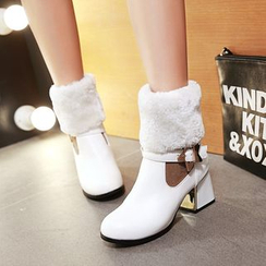 Shoes Galore - Furry Panel Block Heel Short Boots