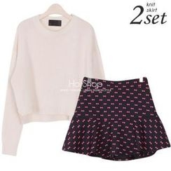 Ho Shop - Set: Round-Neck Knit Top + Ribbon Print A-Line Skirt