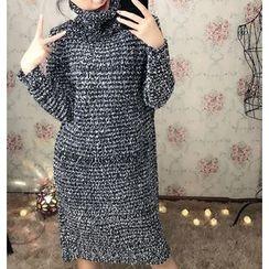 Dream Girl - Turtleneck Melange Knit Dress