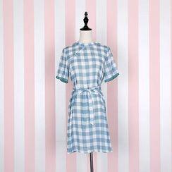 Jade Dragon - Gingham Short-Sleeve Dress / Lace Trim Slipdress / Lace Trim Drawstring Tote