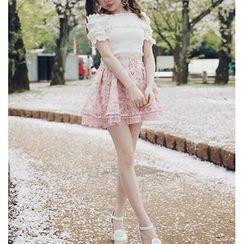 GOGO Girl - Floral Print Pleated Skirt
