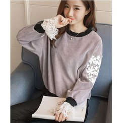 Dowisi - Lace Panel Corduroy Pullover