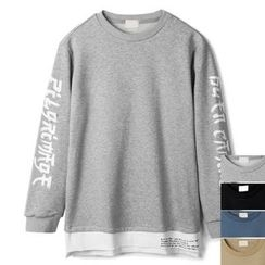 Seoul Homme - Lettering-Sleeve Colored T-Shirt