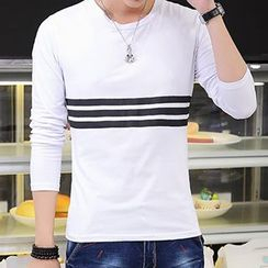 Besto - Stripe-Accent Long-Sleeve T-Shirt