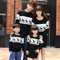 Igsoo - Family Matching Long-Sleeve Patterned Knit Top / Long-Sleeve Patterned Knit Dress
