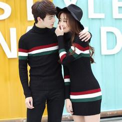 Igsoo - Couple Matching Striped Sweater / Striped Knit Dress
