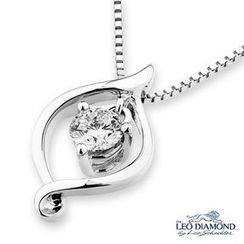Leo Diamond - 18K White Gold Marquise Shape Pendant With Diamond Solitaire Necklace (16')