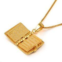 MBLife.com - 925 純銀鍍黃色 聖經(內含經文) 項鏈 (16')