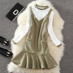 Clementine - 套裝: 配色邊長袖T恤 + 荷葉擺背帶裙