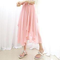 Dodostyle - Asymmetric-Hem Chiffon Maxi Skirt