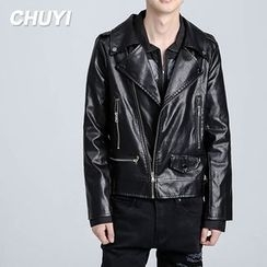 Chuoku - Faux Leather Biker Jacket
