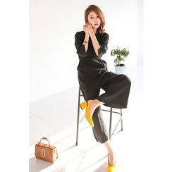 PPGIRL - 3/4-Sleeve Wide-Leg Jumpsuit