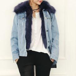 DANI LOVE - Detachable Faux-Fur Vest Denim Jacket