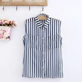 LULUS - Sleeveless Striped Chiffon Shirt