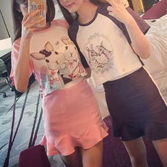 Miss Kekeli - Set: Animal Print Short Sleeve Baseball T-Shirt + Ruffle Hem Mini Skirt