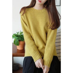 CHERRYKOKO - Raglan-Sleeve Wool Blend Knit Top
