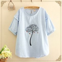 Softies - Short-Sleeve Embroidered Blouse