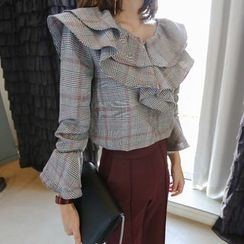 Aurora - Ruffle Plaid Blouse
