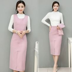 Mandalle - Set: Mock Neck Long-Sleeve Knit Top + Vest + Pencil Skirt