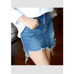 DEEPNY - Frayed Denim Mini Skirt