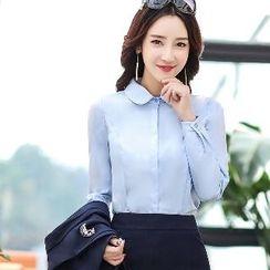 Romantica - Single-Button Blazer / Long-Sleeve Blouse / Slit-Hem Skirt