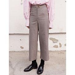 FROMBEGINNING - High-Waist Straight-Cut Check Pants