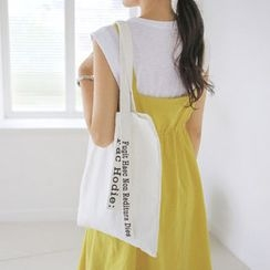 JUSTONE - Lettering-Tag Canvas Shopper Bag