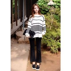 DEEPNY - Dip-Back Striped Sweater