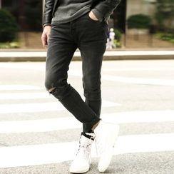 Mannmix - 磨破窄身牛仔褲